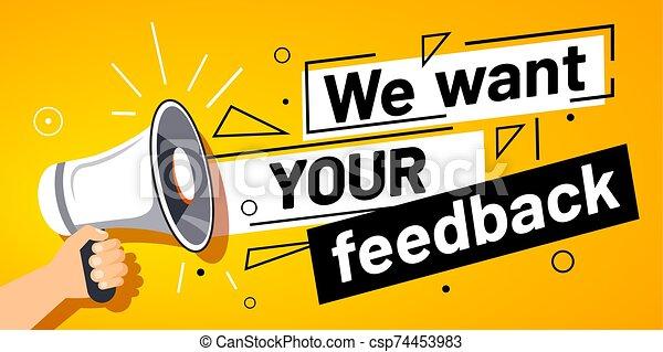 porte voix, client, vecteur, bannière, nous, feedbacks, vouloir, main, feedback., ton, service, illustration, opinion, enquête, promotion - csp74453983