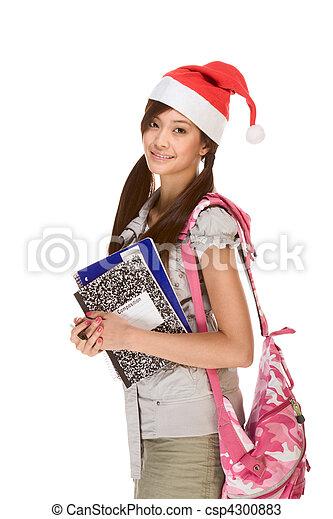 porter, école, portables, santa, sac à dos, claus, livre, stylo, asiatique, tenue, girl, chapeau, composition, rouges - csp4300883