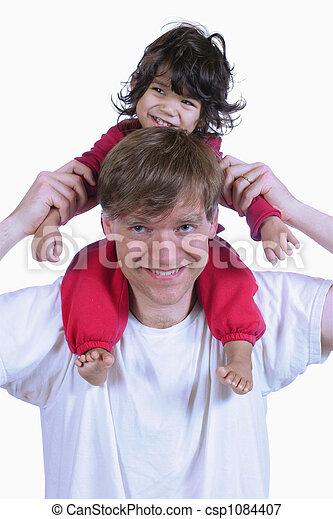 porter, épaules, sien, père, fils - csp1084407