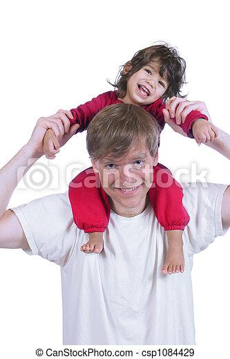 porter, épaules, sien, père, fils - csp1084429