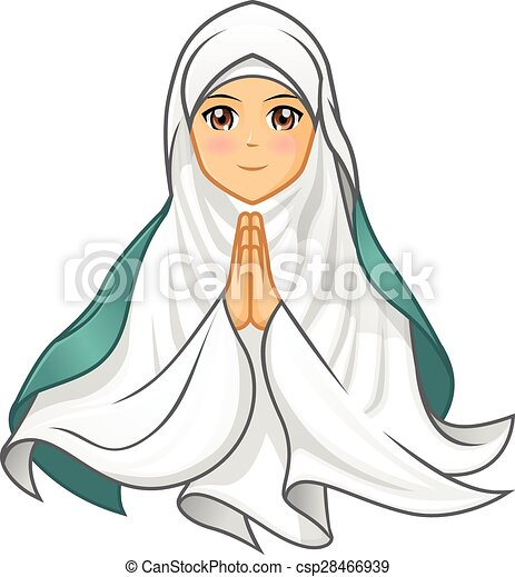 Porter Blanc Femme Voile Musulman Porter Femme Musulman Illustration Vecteur Blanc Voile Canstock