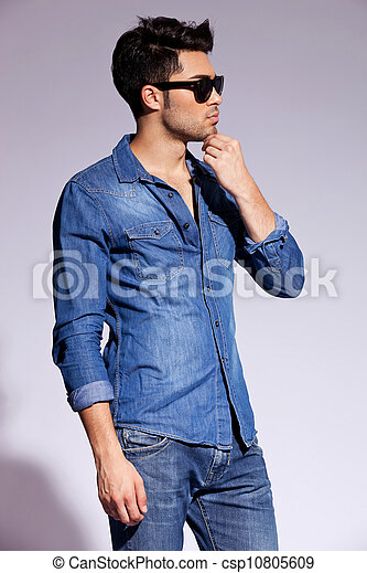 porter, chemise, jean, jeune, modèle, mâle, beau - csp10805609