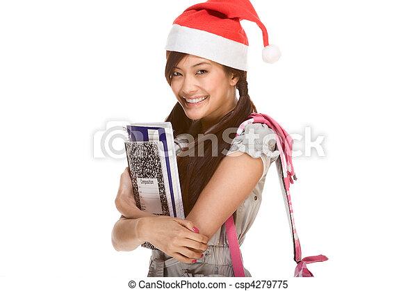 porter, claus, santa, sac à dos, portables, livre, stylo, asiatique, tenue, écolière, chapeau, composition, rouges - csp4279775