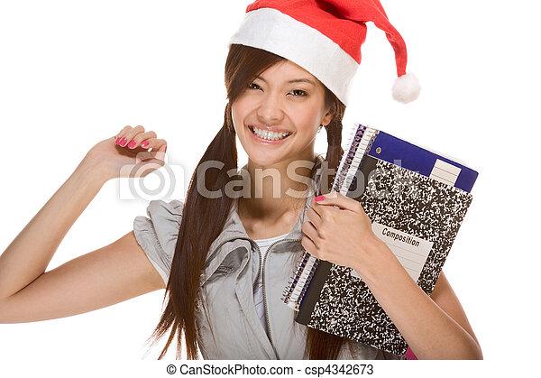 porter, claus, santa, sac à dos, portables, livre, stylo, asiatique, tenue, écolière, chapeau, composition, rouges - csp4342673