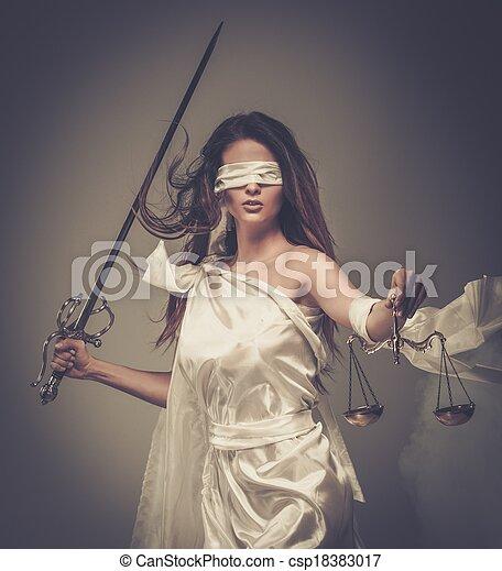 porter, déesse, femida, justice, balances, épée, bandeausur les yeux - csp18383017