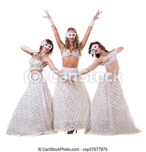 large choix de couleurs classique chic officiel porter, danse, masque carnaval, trois, isolé, danseur, blanc, femmes