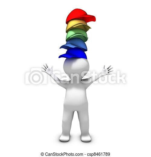 porter, différent, beaucoup, chapeaux, personne, responsabilités, lot, a - csp8461789