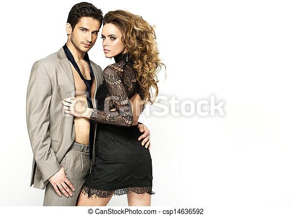 porter, femme, elle, mince, élégant, gentil, robe, petit ami - csp14636592