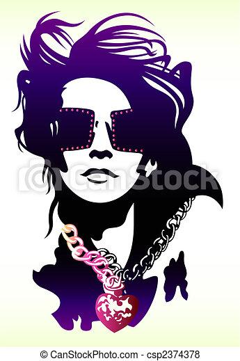 porter, femme, lunettes soleil, illustration - csp2374378