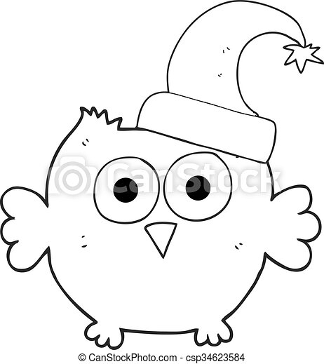 porter hibou peu dessin anim noir chapeau blanc no l vecteur search clip art. Black Bedroom Furniture Sets. Home Design Ideas