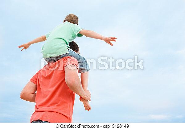 porter, père, fils, sien, épaules - csp13128149