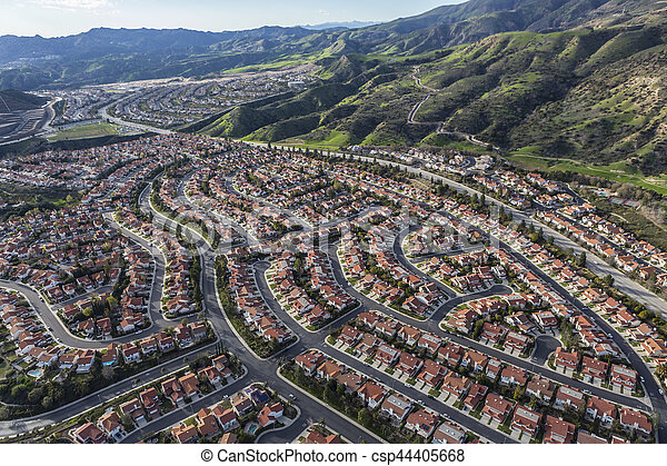 Porter Ranch Aerial View In Los Angeles California Aerial View Of