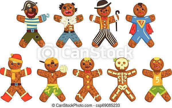 porter, rigolote, différent, caractères, ensemble, ector, hommes, costumes, illustration, fond, pain épice, noël blanc - csp69085233