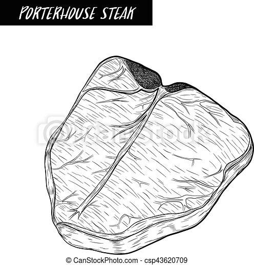 Porterhouse Steak sketch by hand drawing. - csp43620709