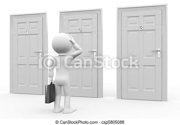 portes, homme, trois, devant - csp5805088