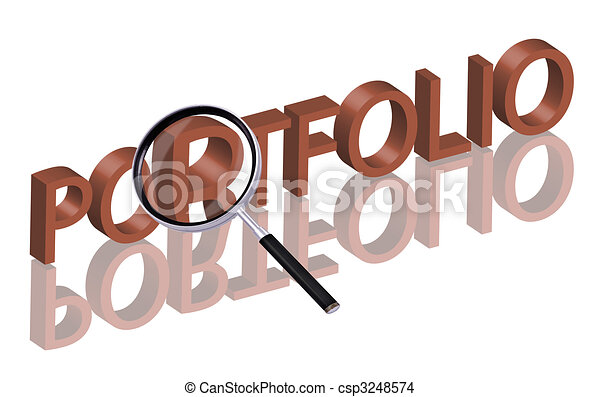 portfolio magnifying glass enlarging part of red 3d word with