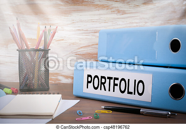 Portfolio Office Binder On Wooden Desk The Table Colored Pencils Pen Notebook Paper