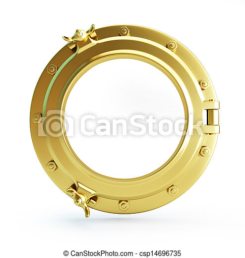 porthole gold on a white background - csp14696735