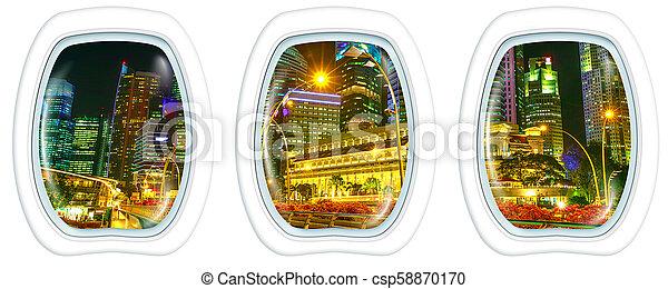 Porthole windows on marina bay promenade - csp58870170