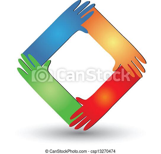 portion, logo, vektor, hände - csp13270474