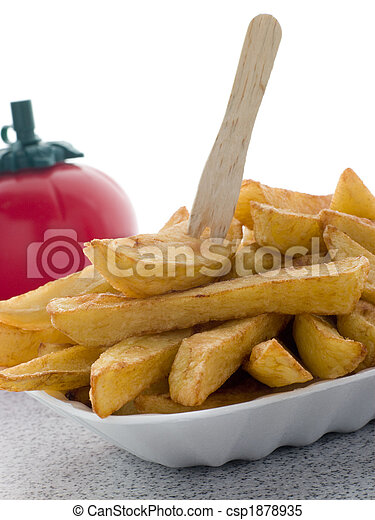 Portion Of Chips In A Polystyrene Tray - csp1878935