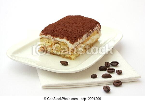 Portion of self-made tiramisu dessert served on a plate - csp12291299