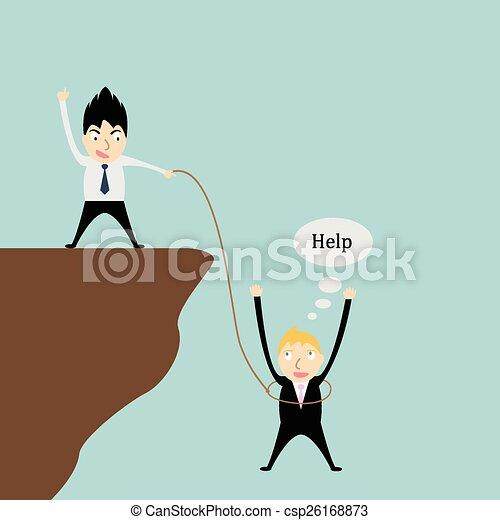 Eine Person hilft einem anderen. - csp26168873