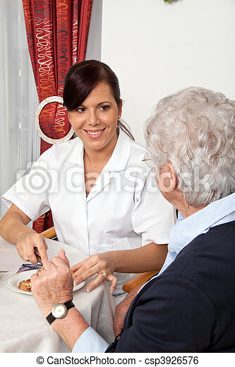 portion, personne agee, petit déjeuner, infirmière, citoyen - csp3926576