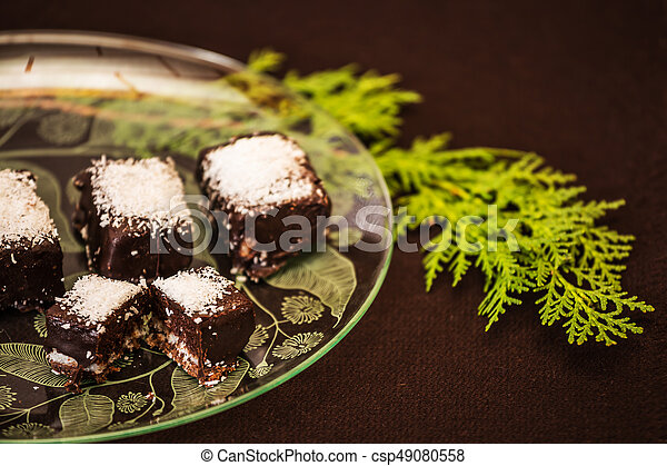 Professional Baking Portioned Chocolate Desserts Sprinkled With