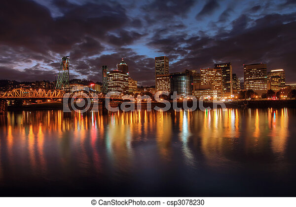 Portland Downtown Skyline at Night - csp3078230