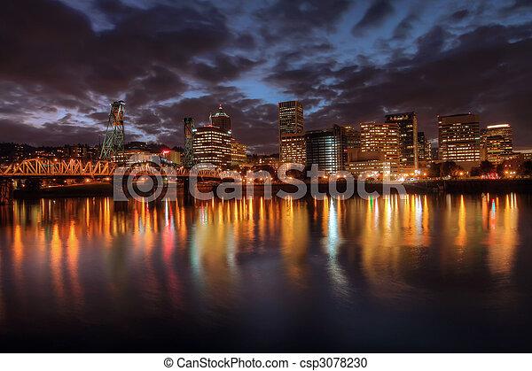 Portland Downtown Skyline at Night - csp3078230