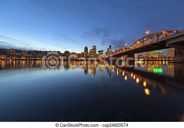 Portland Downtown Skyline by Hawthorne Bridge at Blue Hour - csp24920574