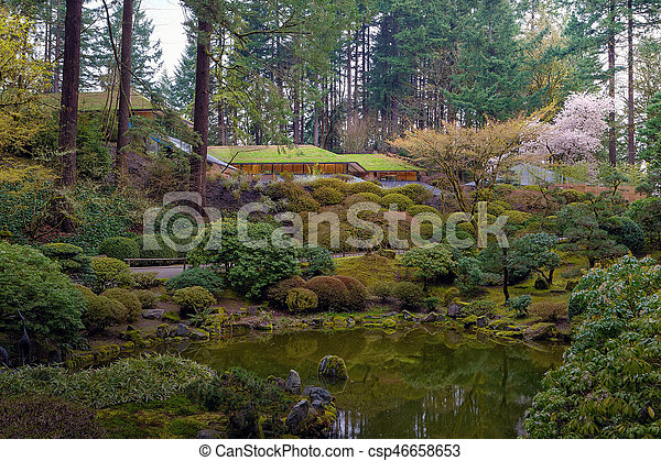 Portland Japanese Garden by the Lake - csp46658653