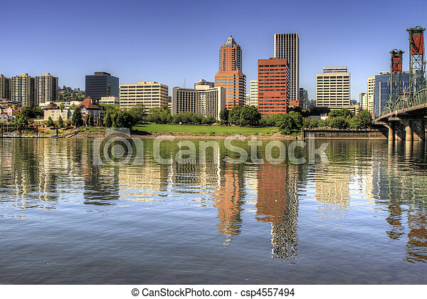 Portland Oregon Downtown Skyline Reflection - csp4557494