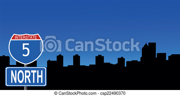 Portland skyline interstate sign - csp22490370