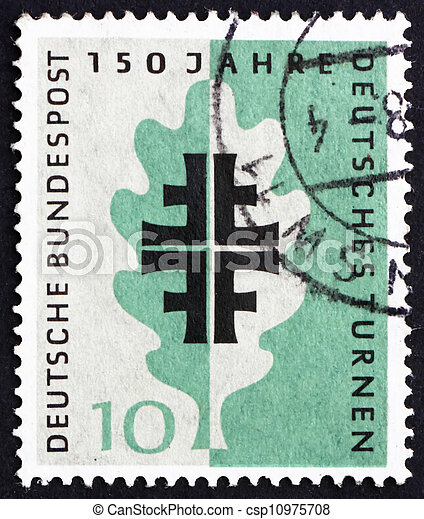 Porto Emblem Briefmarke Eiche Deutschland Blatt Turner 1958