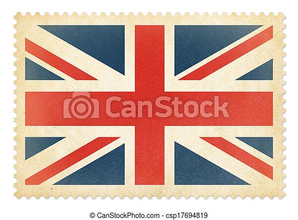 porto, groß, briefmarke, britannien, isolated., fahne, brittish, ausschnitt, included., pfad - csp17694819
