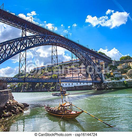 porto, horizon, oporto, portugal, rivière, douro, fer, bateaux, europe., bridge., ou - csp16144724