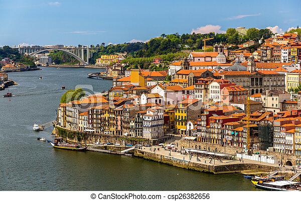 porto, portugal, sur, -, douro, rivière, vue - csp26382656