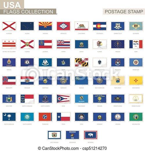 Porto Satz Usa Briefmarke Flag 51 Uns Staaten Staat