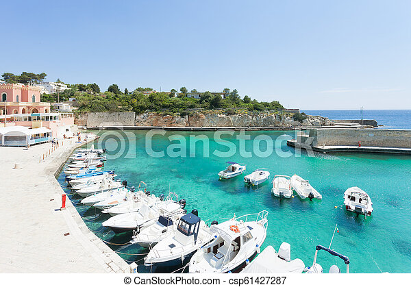 porto, tricase, -, seehafen, motor-boats, apulia - csp61427287