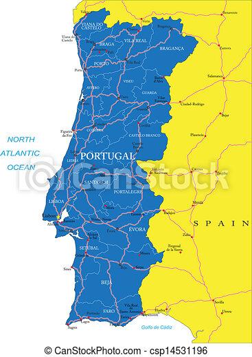 Portogallo Cartina Geografica Politica.Portogallo Mappa Portogallo Dettagliato Altamente Citta Principale Amministrativo Vettore Roads Mappa Regioni Canstock