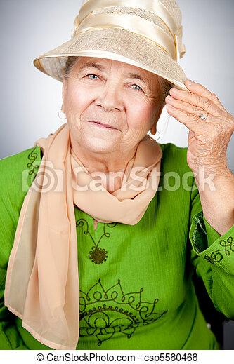porträt, ältere frau, altes , glücklich - csp5580468