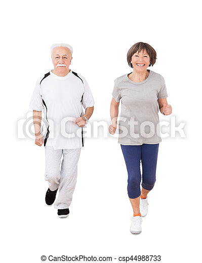 porträt, ältere paare, jogging - csp44988733