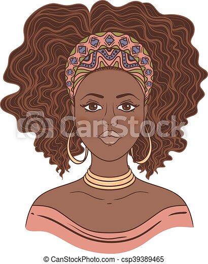 porträt, afrikanisch, woman. - csp39389465