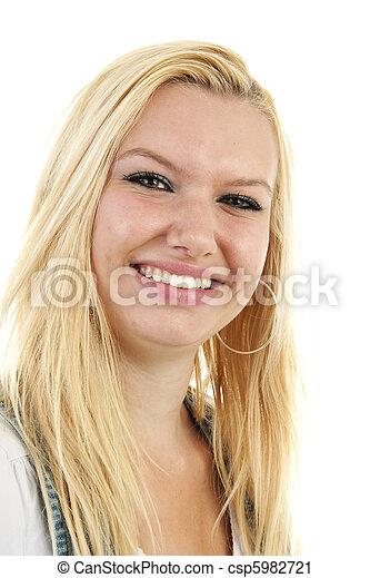 porträt, blond, frau, junger - csp5982721