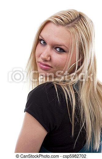 porträt, blond, frau, junger - csp5982702