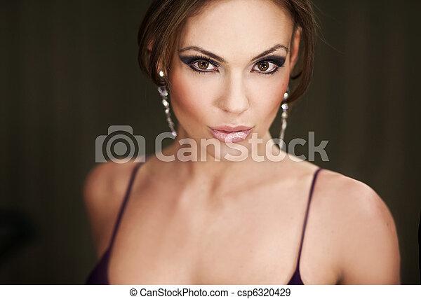 porträt, frau, junger, hübsch - csp6320429