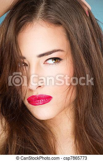 porträt, frau, junger, hübsch - csp7865773