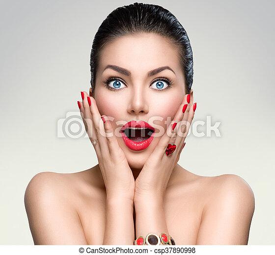 porträt, frau, mode, schoenheit, überrascht - csp37890998